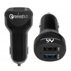 Ładowarka samochodowa max4,8A 2xUSB  Maclean Energy MCE156 Qualcomm Quick Charge QC 3.0 plus kabel 1.5m